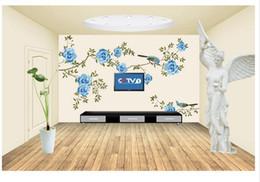 Murales blu fiore online-Papel de parede blu fiore sfondo 3D non tessuto carta da parati nuovi grandi murales costomize size Trasporto veloce gratuito 506k !!!