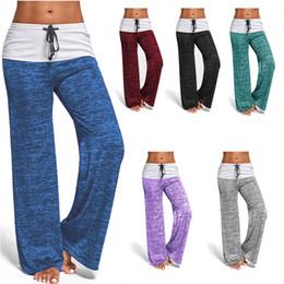 Wholesale Plus Size Palazzo Pants - 2017 New Women's Color Block Wide Leg Palazzo Yoga Pants Middle Waist Loose Long Pants Plus Size LX4123
