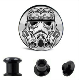Wholesale Expander Flare - Acrylic Star Wars Logo Ear Gauge Plug And Tunnel Stretching Expander 4-16mm Double Flared Screw Fit Plug Piercing