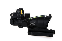 Wholesale Trijicon Acog Scopes - Trijicon TA31 ACOG Style 4X32 Tactical Scope Real Fiber Optic Green Illuminated w  RMR Micro Red Dot For Hunting Riflescopes