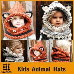 Wholesale Crochet Fox Scarf - wholesale Winter Kids Warm Fox Animal Hats Knitted Coif Hood Scarf Beanies for Autumn Winter kids girl hats caps