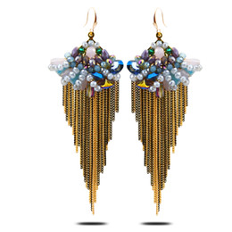 Wholesale Gold Plated Bean - Bohemian style long handmade tassel earring bean jewelry eardrop exaggerated Carolina bucci elegant fashion individuation earring LH389