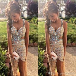 Wholesale Yellow Dress Strip - Sparkly Gold Party Dresses with Crystal Rhinestones 2017 Long Prom Dresses With Cross Strips Back Side Split Evening Dresses for Women