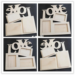 Artes do amor on-line-Chegam novas Oco Amor Moldura De Madeira Moldura Branca Base de Imagem DIY Art Decor
