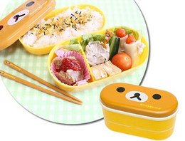 Wholesale Heated Lunch Box - 50sets lot 2 Style Bear Bird Heat Preservation Cute Portable Lunch Box With Chopsticks Kitchen Tool