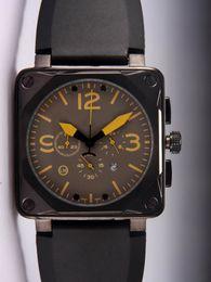 Wholesale vintage steel box - Luxury Men Quartz Chronograph Watches Best Brand Black Rubber Day Date Swiss Vintage Square Stopwatch Casual Mens Sport Wristwatch Gifts Box