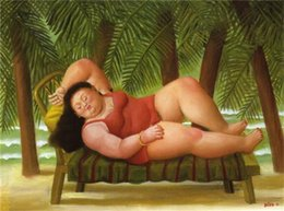Wholesale Botero Hand Painted - Bather on the Beach,Fernando Botero Art Painting on Canvas,High quality,Hand-painted