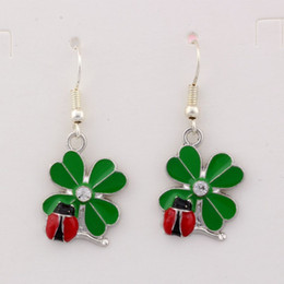 Wholesale Hook Brass - Hot ! 10 Pair Green Enamel Lucky Grass With Ladybug Charms Earrings With Fish hook Ear Wire 18 X 39 mm
