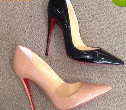 Wholesale Pump Patent - Real photo women Nude patent leather point toe thin Red Bottom high heels shoes pumps party dress shoes come with shoes box and dustbag