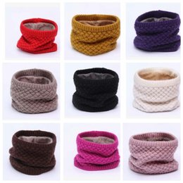 Wholesale Cowl Neck Men - Women Winter Warm Infinity Cable Knitted Neck Cowl Collar Wraps Wool Scarf Shawl Women Men children Ring Scarf KKA3314