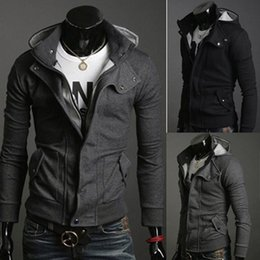 Wholesale Sexy Coat Men Slim - Fashion Mens Smart Slim Top Great Designed Sexy Hoody Jacket Coat Solid Color Zipper Turn-down Collar Casual Outerwear MF-3656B