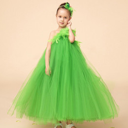 Wholesale Tutu Dress One Shoulder - One SHoulder Green Flower Girl Dresses One Shoudler Feathers A Line Tulle TUtu Floor Length Cute Kids Pagenat Gowns