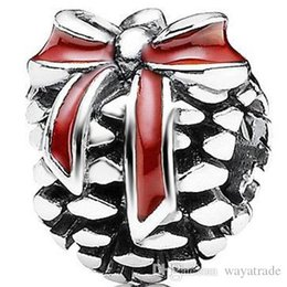 Wholesale Pine Cone Charms - Hot Sale Wholesale Red Bow Pine Cone Charm 925 Sterling Silver European Charm Bead Fashion DIY Jewelry Fits Snake Chain Bracelet