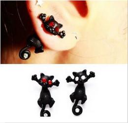 Boucles d'oreilles chat noir en Ligne-Boucles d'oreilles en gros cristal rouge - 1 Pièce Punk Noir Chaton Stéréoscopique Chat Chaton Impalement Punk Stud Earring