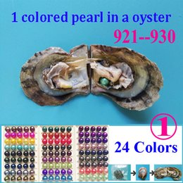 Wholesale Dark Pack - 10 PCS free shipping round pearl oyster 6-8mm peacock, Dark pink, teal, purple, green colored pearl beads in oyster with vacuum-packed 03
