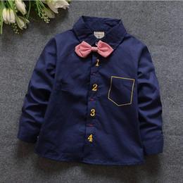 Wholesale Cool Boys Clothing Brands - 2016 Fashion boys cotton shirt cool figure print necktie bow long Sleeve Shirt spring Children Shirts Kids tee Clothing bc206
