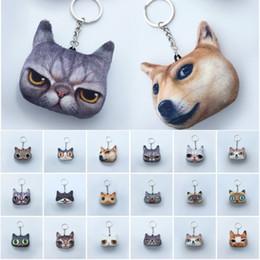 Wholesale Cat Plush Keychain - Hot Sale Cute Mini Cartoon 3D Printing Realistic Animal Dog Cat Pendant Keychain Soft Stuffed Plush Toy Keyrings Gift Free DHL D336S