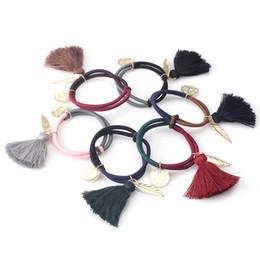 Wholesale Vintage Ponytail Holders - 1 PC New Fashion Leaves Elastic Hair Bands Ponytail Rope Vintage Tassel Hair Rope Scrunchy Leaf Women Hair Accessories