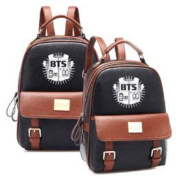 Wholesale Kpop Sale - 2017 Hot Sales Korean KPOP Bangtan BTS PU Backpack Mochila Student Boys Bag Girls Schoolbag Women Backpacks for Kpop group fans