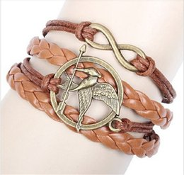 Wholesale Christmas Handmade Gift Pattern - Hunger Games Infinity charms Bracelets bangle Braided Leather Handmade Combination Pattern charming multilayer bracelet christmas gift