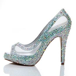 Wholesale Peep Toe Rhinestone Shoe - Spring Summer New Arrival Women High Heels Rhinestone Glitter AB Color Crystal Bridal Shoes Peep Toe Mesh Lace Wedding Shoes