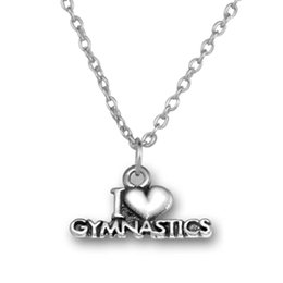 Wholesale Fitness Necklaces - 20pcs lot Antique Silver Plated I Love Gymnastics Message Charm Fitness Necklace For Jewelry Making (A121507)