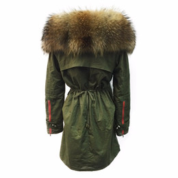 Wholesale Women Coat Size Large - New 2017 Winter Jacket Women Large Raccoon Fur Collar Thick Loose size Coat outwear Parkas Army Green