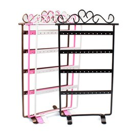 Wholesale Wholesale Fashion Jewelry Showcases - Fashion 4 Colors 48 Hole Earrings Displays Rack Metal Jewelry Stand Holder Showcase Jewelry Packaging & Display Drop Shipping