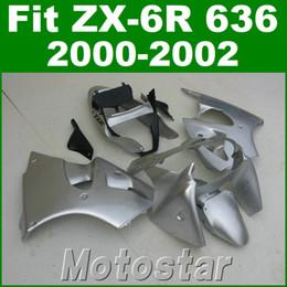 Nachrüstkunststoffe online-Verkleidungskits für Kawasaki ZX6R Verkleidungen 2000 2001 2002 Kunststoff-Set ZX-6R ZX636 00 01 02 silber schwarz Aftermarket JK63