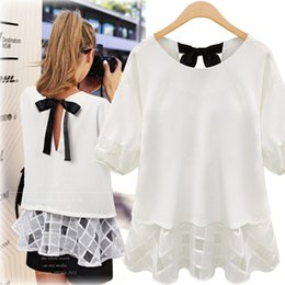 Wholesale Cute Half Sleeve Shirts - European Style 2015 Spring & Autumn Children Summer Clothes Plus Size Women Half Sleeve Chiffon T-Shirt Cute Lady Round Collar Tops Women Lo