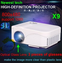 Wholesale 3d Projector Wholesale - Newest X9 Real three glasses lens High performance LCD Handheld 3D home cinema projector Native 800x480 Support 1080 Free ship