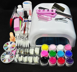 Wholesale Gel Lamp Kit - NEW ARRIVAL White Lamp & 12 Color UV Gel Nail New Pro 36W UV GEL Nail Art Tools Sets Kits