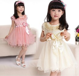 Wholesale Korean Style Clothing Free Shipping - Wholesale-Summer Children Dress Korean Bow Net Yarn Girls Lace Dress 2-7Year Kids Clothing free shipping 5p l