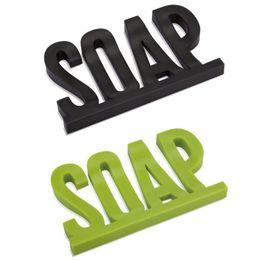 Wholesale plastic letter holder - Creative Soap Holder Kitchen Bathroom Accessories Letter Shape Soap Dish Non Slip For Multi Color 2 04aj C