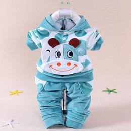Nuevo 2016 bebé niñas terciopelo niños ropa conjuntos niños dibujos animados sudaderas con capucha pantalones trajes para el otoño recién nacido niños usan traje desde fabricantes