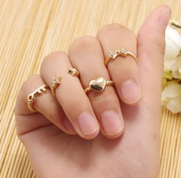 Discount rhinestone star ring - 2016 Knuckle Ring Gold Silver Plated Crystal Rhinestone Love Heart Bow Star Key Shining Beautiful Lovely Ring Set Midi Finger Rings 6pcs Set