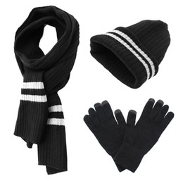 Wholesale Yarn Bowls - Reflective Stripe Beanie Hat Scarf Glove Set Knit Cashmere Like Cap Best Gift in Cold Winter