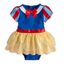 Wholesale Snow White Romper - Snow White Romper Baby Girls Costume Romper Dress Snow White Bow dress Baby Girl Lace Romper with Headband 3sets lot free shipping