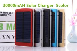 Wholesale Mobile Battery Powered Solar - Portable solar battery charger 30000mah LED Darkening portable solar power bank solar power bank SOS help for Mobile Phone Tablet MP4