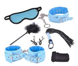 Wholesale Item Bondage - 7Pcs Bondage Kit Set Fetish BDSM Roleplay Handcuffs Whip Rope Blindfold Ball Gag Blue Slave Bondage Kit Set 7 Items