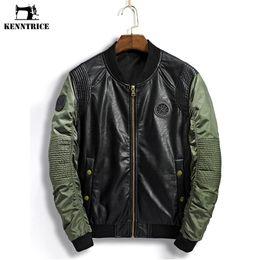 Wholesale Leather Hip Hop Winter Jackets - Wholesale- Kenntrice Faux Leather Jacket Men Bomber Jackets Winter Fall Coat Male Patchwork Moto Leather Jacket Men Hip Hop College Coat
