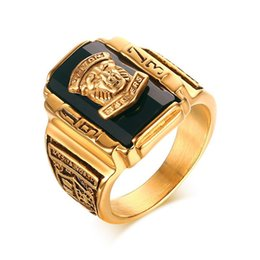 Wholesale Wholesale Large Stones Jewelry - Wholesale US Men's Rock Punk Ring Gold Plating Large Black CZ Stone Ring Men Jewelry Cool Lion Head School Party Rings