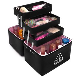 Wholesale Korean Cases Free Shipping - 2017 Free Shipping Cosmetic Case Multifunctional Portable Cosmetics Large Capacity Multi -Layer Professional Cosmetic Box