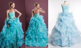 Wholesale Stapless Wedding Gowns - 2015 New Beach Wedding Dresses Appliques Lace Stapless real Photos Fashionable Ball Gown Chapel Train Blue Bridal Gowns Good Quality Organza