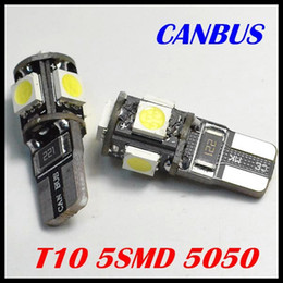 Wholesale License Plate Red Light - T10 5050 5SMD T10 5 smd 5050 5led Canbus Error Free Car Lights W5W 194 5SMD LIGHT BULBS NO OBC ERROR White Blue Red free shipping