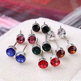 Wholesale 5mm Earring Ear - Wholesale 5mm Crystal Rhinestone Earrings Women's alloy Ear Stud Earring Fashion Jewelry High Quality