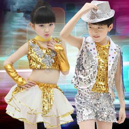 Wholesale Dance Wear Sequins - Christmas Halloween Stage Wear Jazz Dancewear DS Dancing Costumes Boys Sequins Crop Top Shine Short Pants Tiered Girls Dress Suits for Child