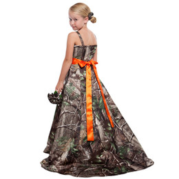 Wholesale Pink Camo Wedding - Camo Flower Girls Dresses For Weddings Spaghetti Elastic Satin Princess Floor Length Junior Bridesmaid Dresses Country Flower Girls Dresses