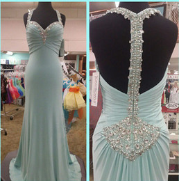 Wholesale Inexpensive Blue Dresses - Long Prom Dress Blue Unique Spaghetti Formal Party Dress Inexpensive Backless Special Occasion Popular Dress Custom made