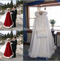 Wholesale White Real Fur Wrap - Romantic Real Image 2018 Hooded Bridal Cape Ivory White Long Wedding Cloaks Faux Fur For Winter Wedding Bridal Wraps Bridal Cloak Plus Size